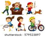 children doing different... | Shutterstock .eps vector #579523897