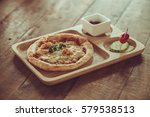 small homemade pizza with ... | Shutterstock . vector #579538513
