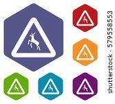 deer traffic warning sign icons ... | Shutterstock . vector #579558553