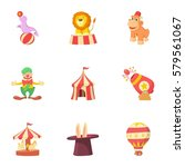 circus performance icons set.... | Shutterstock . vector #579561067