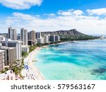 waikiki beach and diamond head... | Shutterstock . vector #579563167