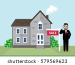 hipster real estate agent using ... | Shutterstock .eps vector #579569623