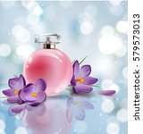 pink bottle women's perfume... | Shutterstock .eps vector #579573013