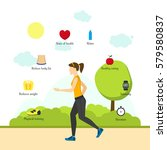 cartoon jogging girl... | Shutterstock .eps vector #579580837