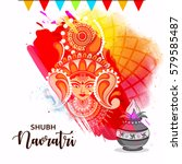 happy navratri  abstract design ... | Shutterstock .eps vector #579585487