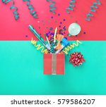 red gift box with various party ... | Shutterstock . vector #579586207