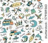 surfing seamless pattern ... | Shutterstock .eps vector #579589363