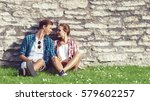 beautiful couple of hipsters... | Shutterstock . vector #579602257
