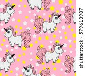 seamless pattern with unicorns... | Shutterstock .eps vector #579613987