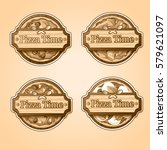 traditional italian food labels ... | Shutterstock .eps vector #579621097
