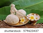 ayurveda massage powder pads... | Shutterstock . vector #579623437