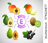 vitamin e sources. fruits with...   Shutterstock .eps vector #579624877