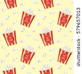 pop corn in a red stripped pack ... | Shutterstock .eps vector #579657013