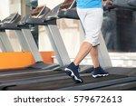 young man running on treadmill  ...   Shutterstock . vector #579672613
