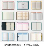 set of open notebooks with... | Shutterstock .eps vector #579676837