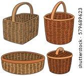 vector set of wicker basket | Shutterstock .eps vector #579689623