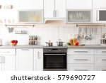 new modern kitchen interior | Shutterstock . vector #579690727