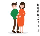motherhood. happy pregnant... | Shutterstock .eps vector #579701857