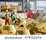 Close Up Of Excavator Bucket...