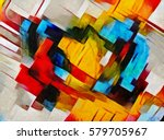 panoramic abstract geometric... | Shutterstock . vector #579705967