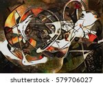 panoramic abstract geometric... | Shutterstock . vector #579706027