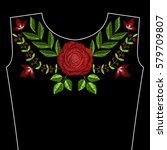 embroidery stitches with red... | Shutterstock .eps vector #579709807