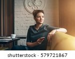 young smiling business woman... | Shutterstock . vector #579721867
