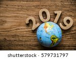 happy new year 2019 with round... | Shutterstock . vector #579731797