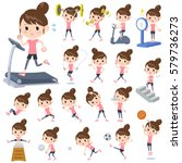 set of various poses of bun... | Shutterstock .eps vector #579736273