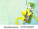 easter table setting with... | Shutterstock . vector #579745507