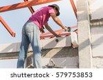 industrial bricklayer... | Shutterstock . vector #579753853