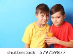 Twin Brothers Juice Blue Background - Fine Art prints