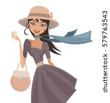happy elegant lady with hat... | Shutterstock .eps vector #579763543