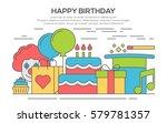 flat happy birthday festive... | Shutterstock .eps vector #579781357