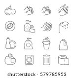 hygiene line icons. cleaning... | Shutterstock .eps vector #579785953