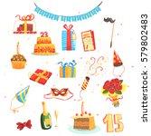 happy birthday party set of... | Shutterstock .eps vector #579802483