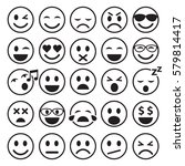 set of emoticons icons outline. ... | Shutterstock .eps vector #579814417
