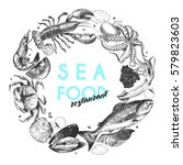 hand drawn seafood logo.... | Shutterstock . vector #579823603