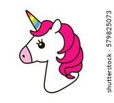Stock vector unicorn vector icon isolated on white head portrait horse sticker patch badge cute magic cartoon 579825073