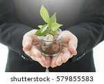businesswoman hands holding... | Shutterstock . vector #579855583