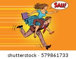 wife riding husband runs on... | Shutterstock .eps vector #579861733