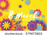 colorful paper cut flower. 8... | Shutterstock .eps vector #579875803