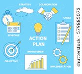 action plan illustration. line... | Shutterstock .eps vector #579885073