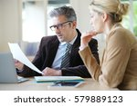 woman meeting notary for advice | Shutterstock . vector #579889123