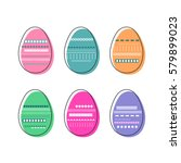 colorful decorated  easter eggs ... | Shutterstock .eps vector #579899023