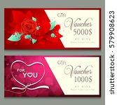 valentines day  gift voucher ... | Shutterstock .eps vector #579908623