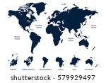 blue world map vector on white... | Shutterstock .eps vector #579929497