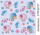 sheep  flowers and butterflies. ... | Shutterstock .eps vector #579930757