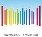 crayons   colored pencil... | Shutterstock .eps vector #579931303