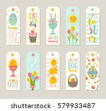 set of easter gift tags and... | Shutterstock .eps vector #579933487